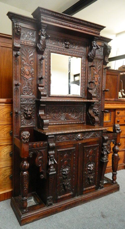 Large impressive carved oak hall stand antiquesatlas