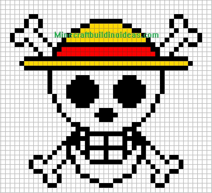 Minecraft Pixel Art Templates Straw Hat Luffy Dessin