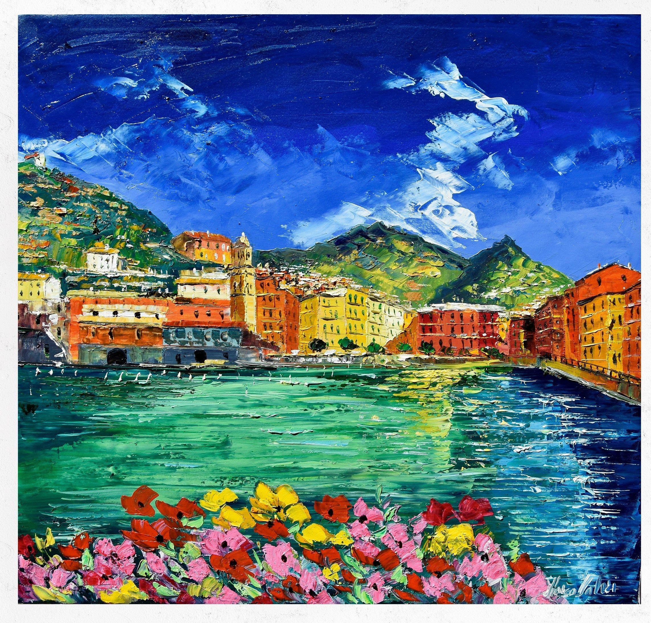 Vernazza Cinque Terre, painting on canvas, wall art decor ...