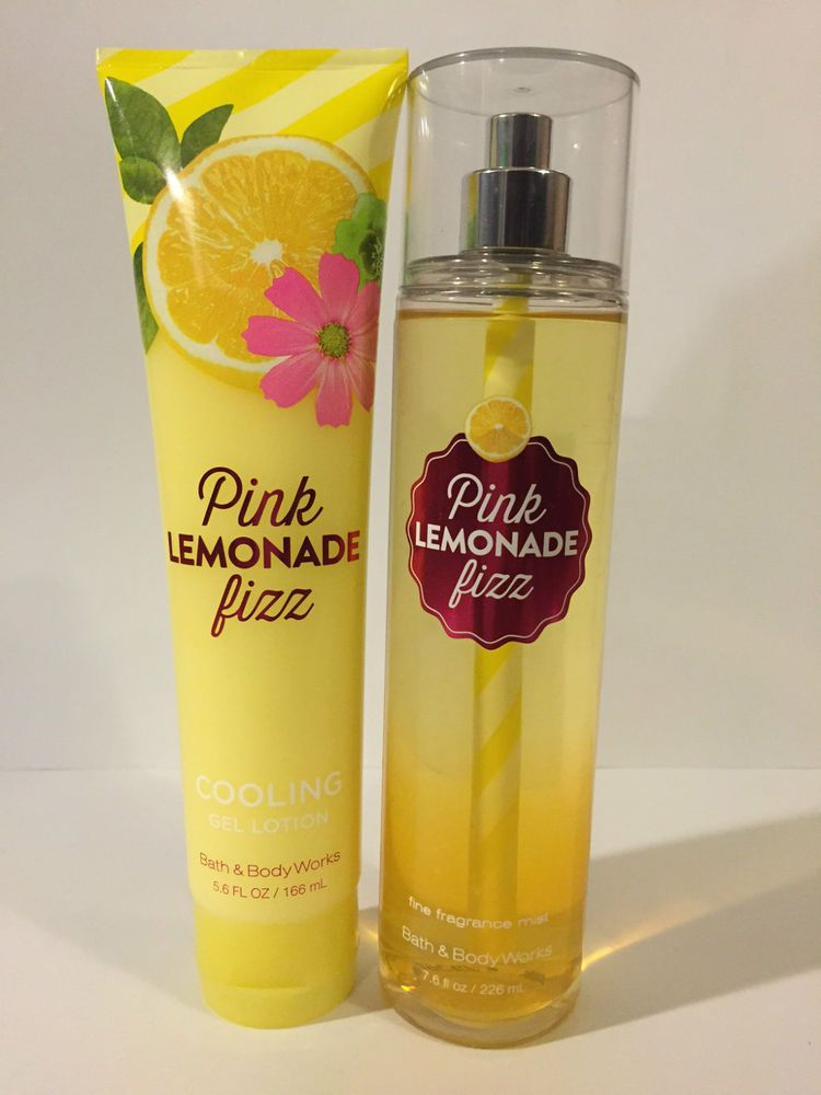 Bath Body Works Pink Lemonade Fizz Cooling Gel Mist Set New