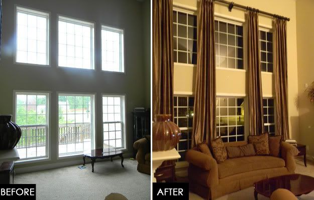 Two Story Great Room Update Tall Window Treatments