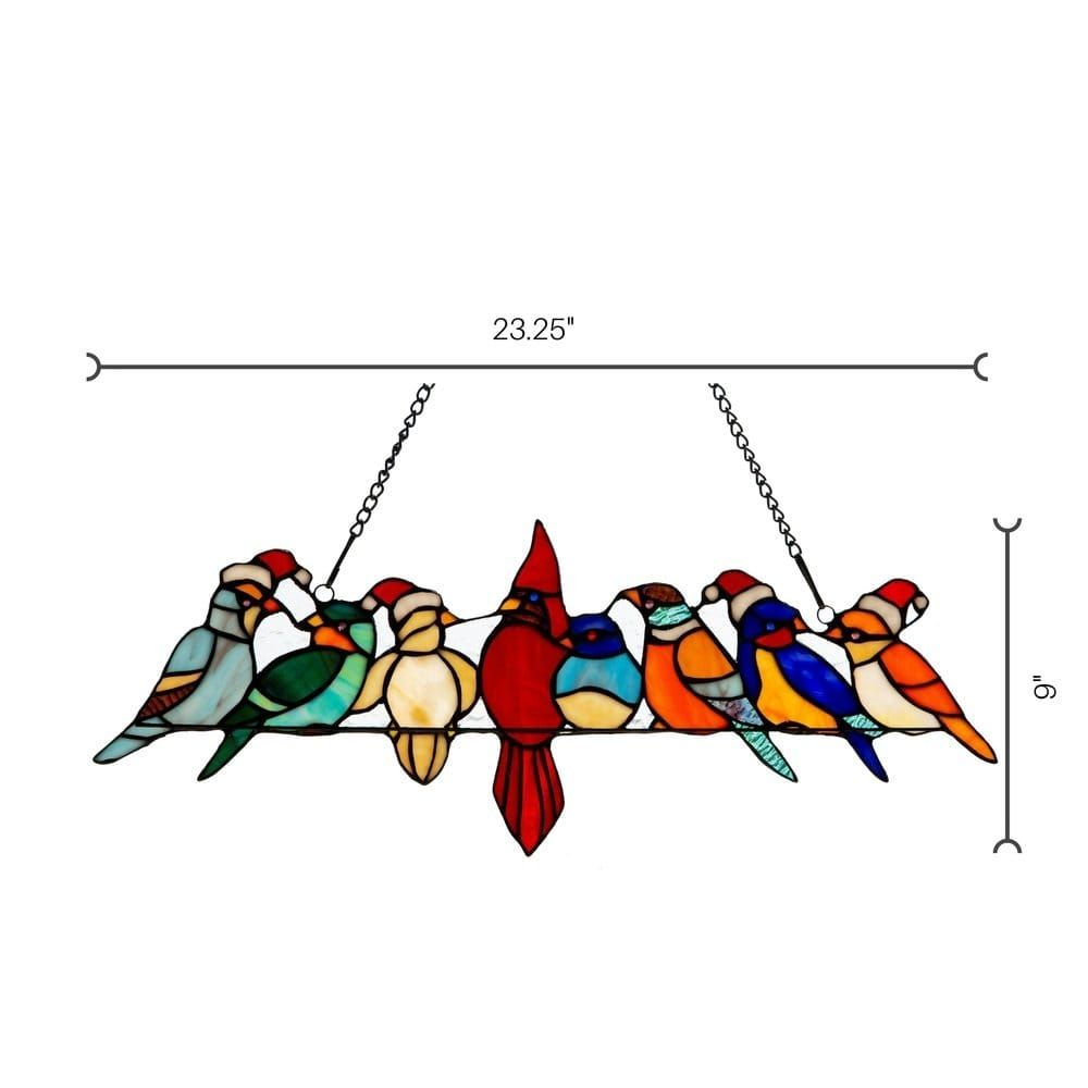 be8841cd4 Shop River of Goods Holiday Birds Hanging Stained Glass Window Panel - On  Sale - Free Shipping Today - Overstock.com - 23118517