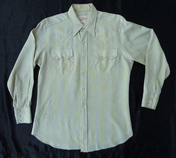 ba53216f Vintage 1940s California Ranchwear Men's Western Shirt. M-L. Shiny silvery,  yellow & black plaid tex