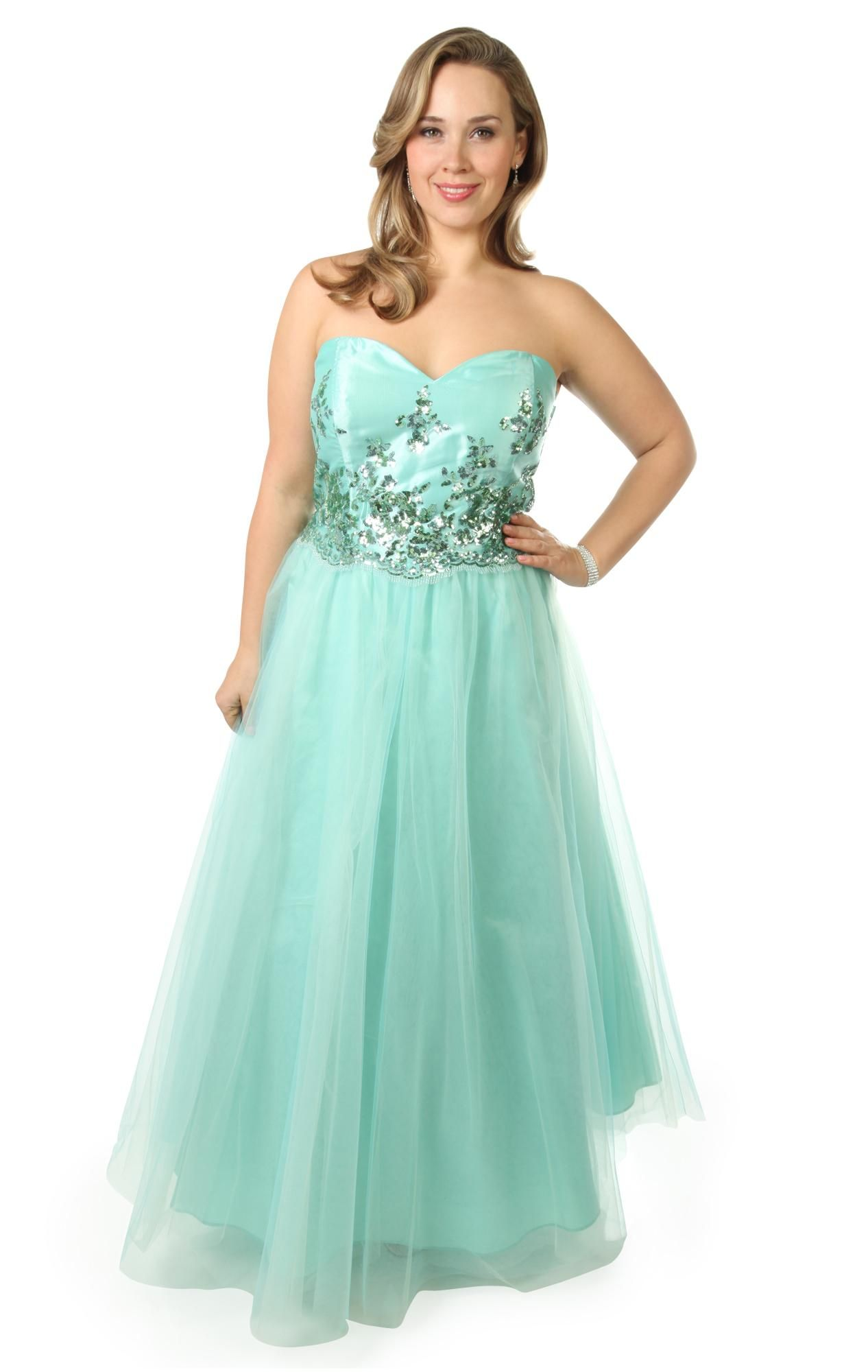 Plus size two tone sequin sea foam tulle skirt long prom dress ...