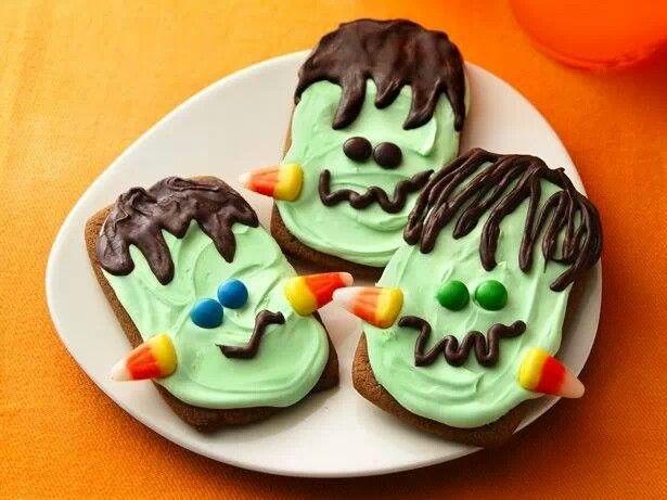 Frankenstein cookies kid stuff Pinterest - halloween baked goods ideas