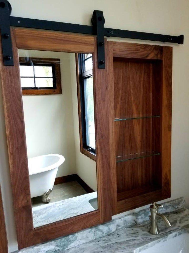 Barn Door Walnut Medicine Cabinet Etsy In 2020 Bathrooms Remodel Rustic Remodel Bathroom Decor