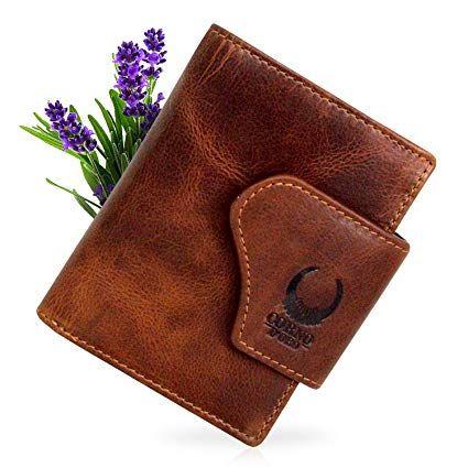 19df62eb9766b Geldbörse Herren Leder mit RFID Schutz kompaktes Portemonnaie Brieftasche  Portmonee Vintage Damen Geldbeutel mit Münzfach Wallet