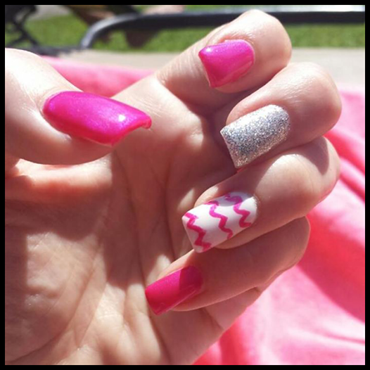 Meeting the girls for drinks after work? Dazzle and impress them with hot pink, glitter, and chevron. #byMario #ManiMonday  Photo Credit: Amber Edwards, Nail Director