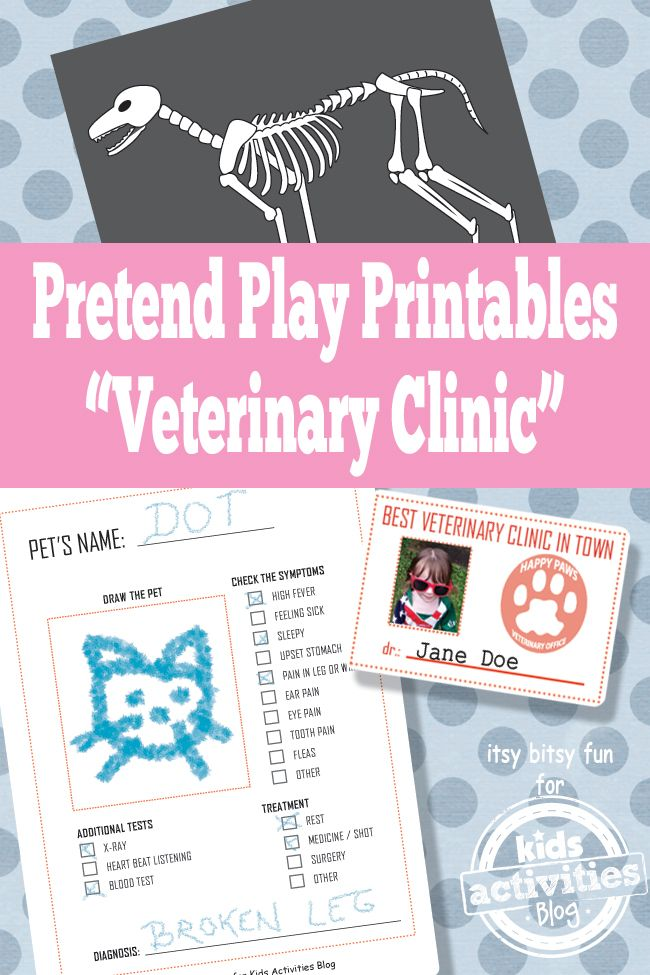 Vet Pretend Play Free Kids Printables Kids Activities Blog Pretend Play Printables Printables Free Kids Dramatic Play Preschool