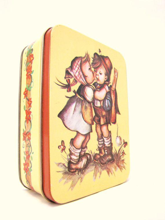 Vintage Hummel Tin Children Kissing Retro Decor by DDbuttons, $5.75