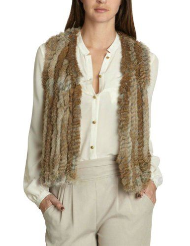 Berry Queen Women`s Vintage Real Knitted Rabbit Fur Vest - Listing price: $399.00 Now: $63.99