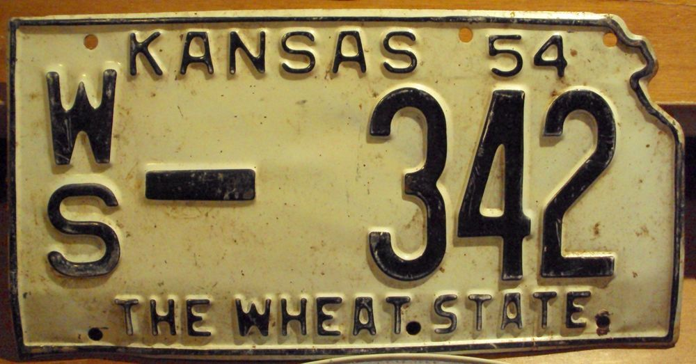 Kansas State 1954 License Plate Old Tag Vintage Auto State Cut Out ...