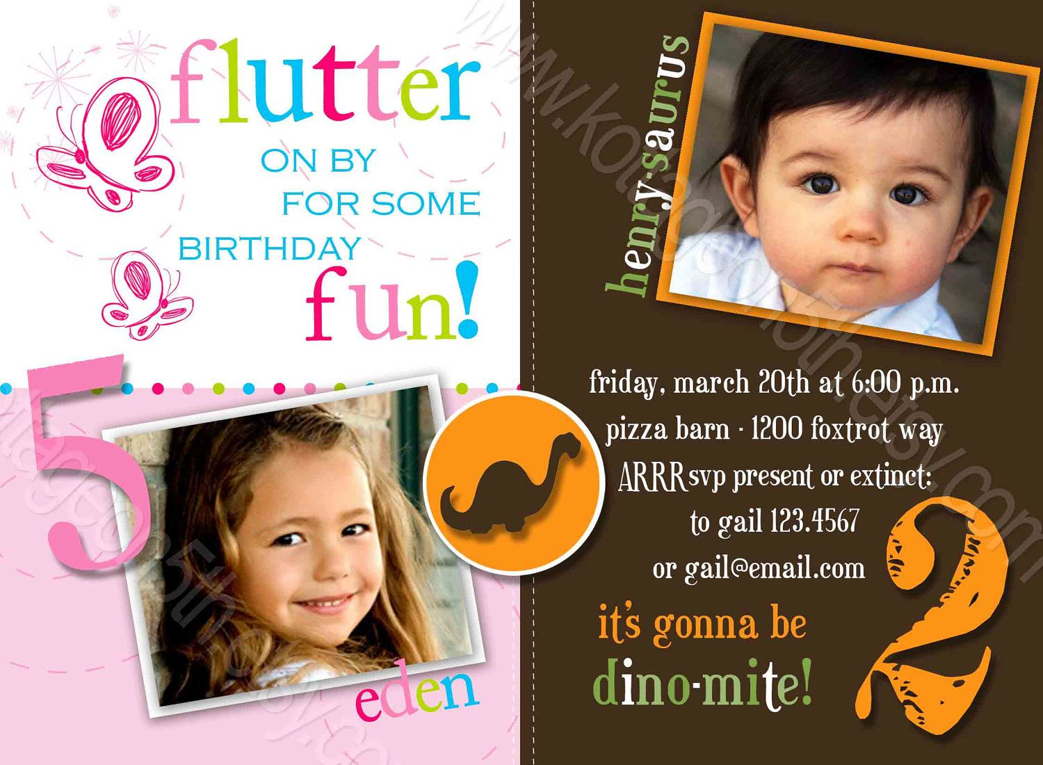 Butterflies N Dinos Printable JOINT Birthday Party Invitation – Birthday Celebration Invitation