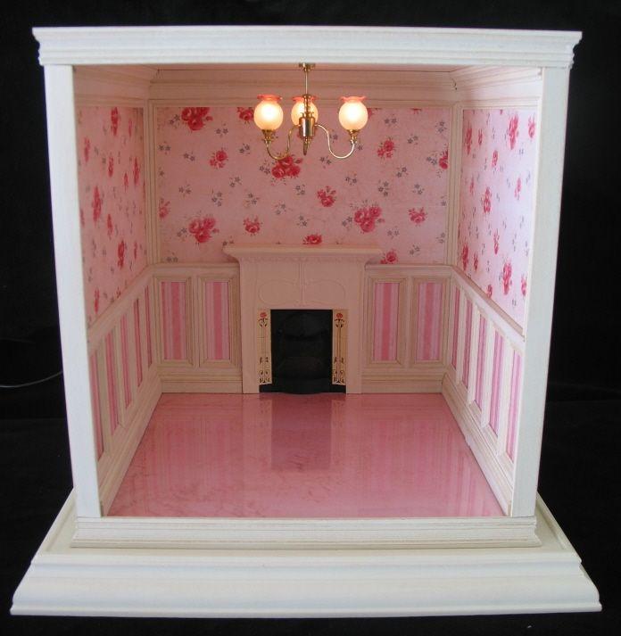 Dollhouse Miniature Roombox Sitting Room: Custom Dollhouses. Pretty Room Box.