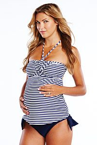 420e5936111f4 This just in from Maternal America. The Eva Maternity Swimwear Tankini.  Super sexy striped top with matching navy tie bottoms.