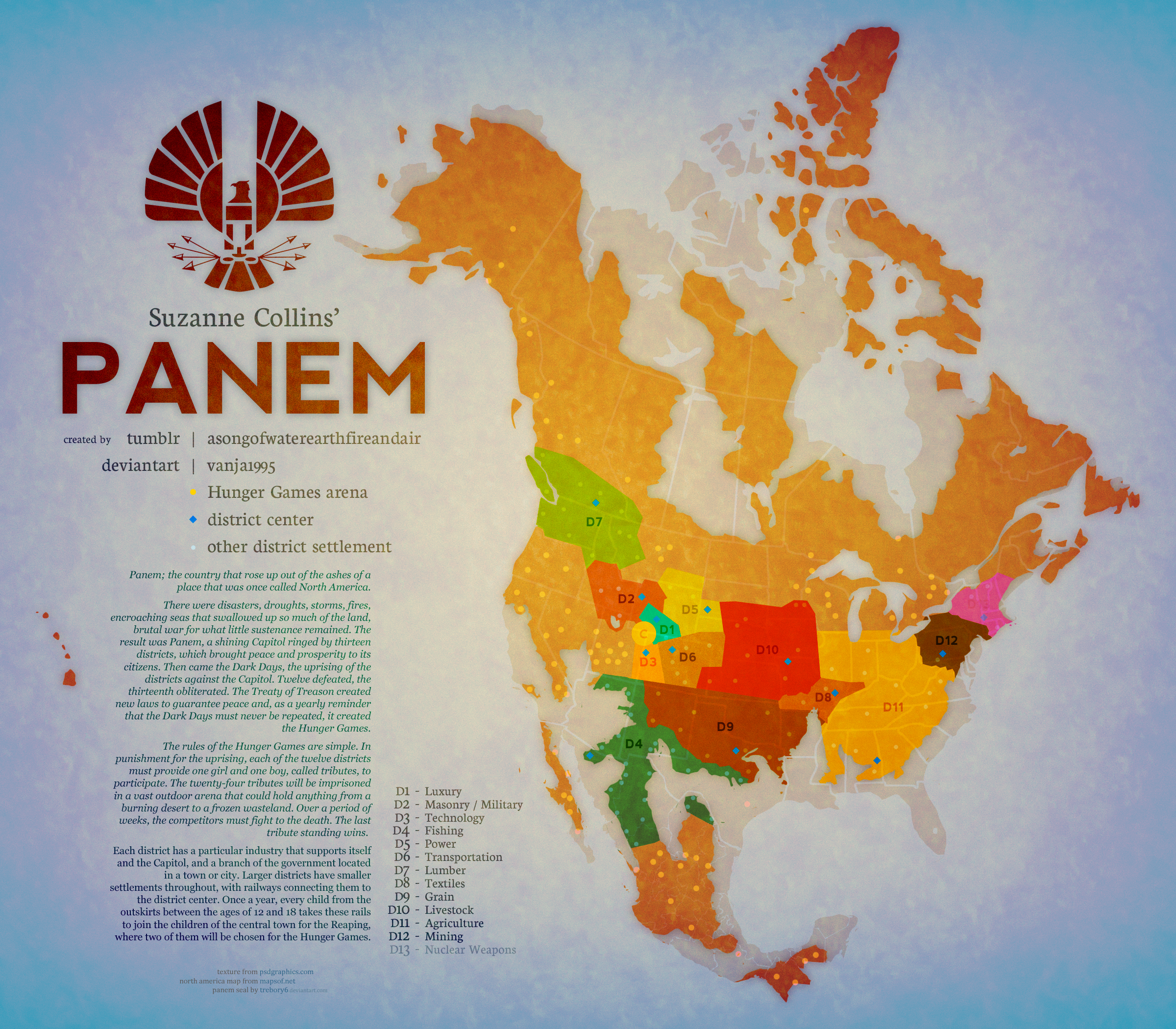 Panem Map- this is probably my favorite map (according to ...