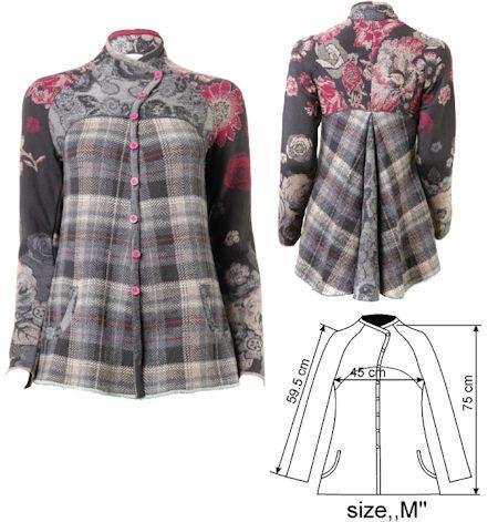 IVKO Woman`s Floral Tartan Wool Jacket Style 42604-018 in GREY