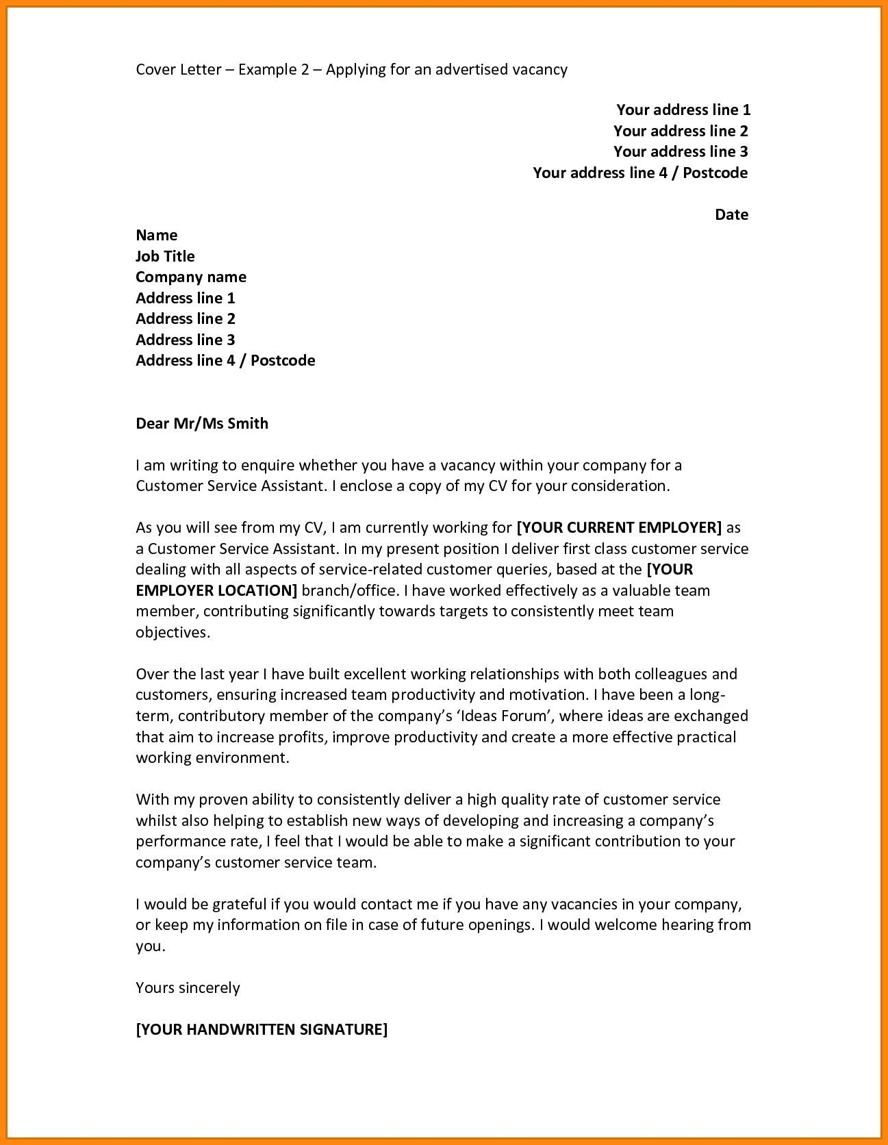 30 Cover Letter For Job Example Application Pdf Save Motivation Vacancy Resume