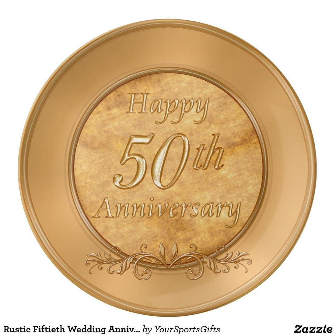 Rustic Fiftieth Wedding Anniversary Gift Ideas Plate