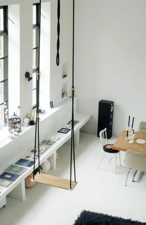 63 id es avec une balan oire pour votre salon ideas balancoire interieure d co salon et - Siege suspendu salon ...
