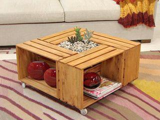 Manualidades y artesan as mesa con cajones de fruta reciclando pinterest - Cajones de fruta de madera ...