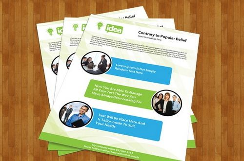 Corporate Single Side Brochure PSD Template Work Pinterest - Brochure photoshop template
