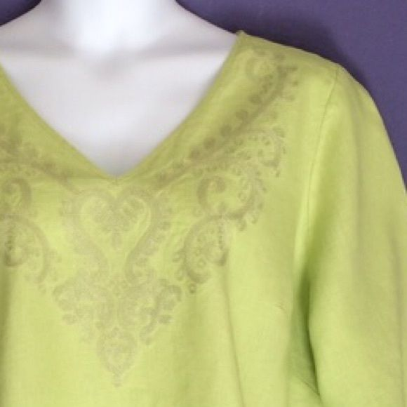 """Light Green Blouse This blouse can be worn for any occasion.  The detailed neckline is beautiful.  Material: 100% Linen; Measurements: Length - 29.5""""/Bust - 26.5"""" Saint Tropez West Tops"""