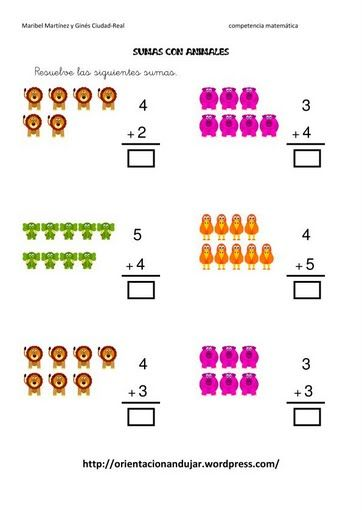 ejercicios infantiles de matematicas infantiles de sumar para nios