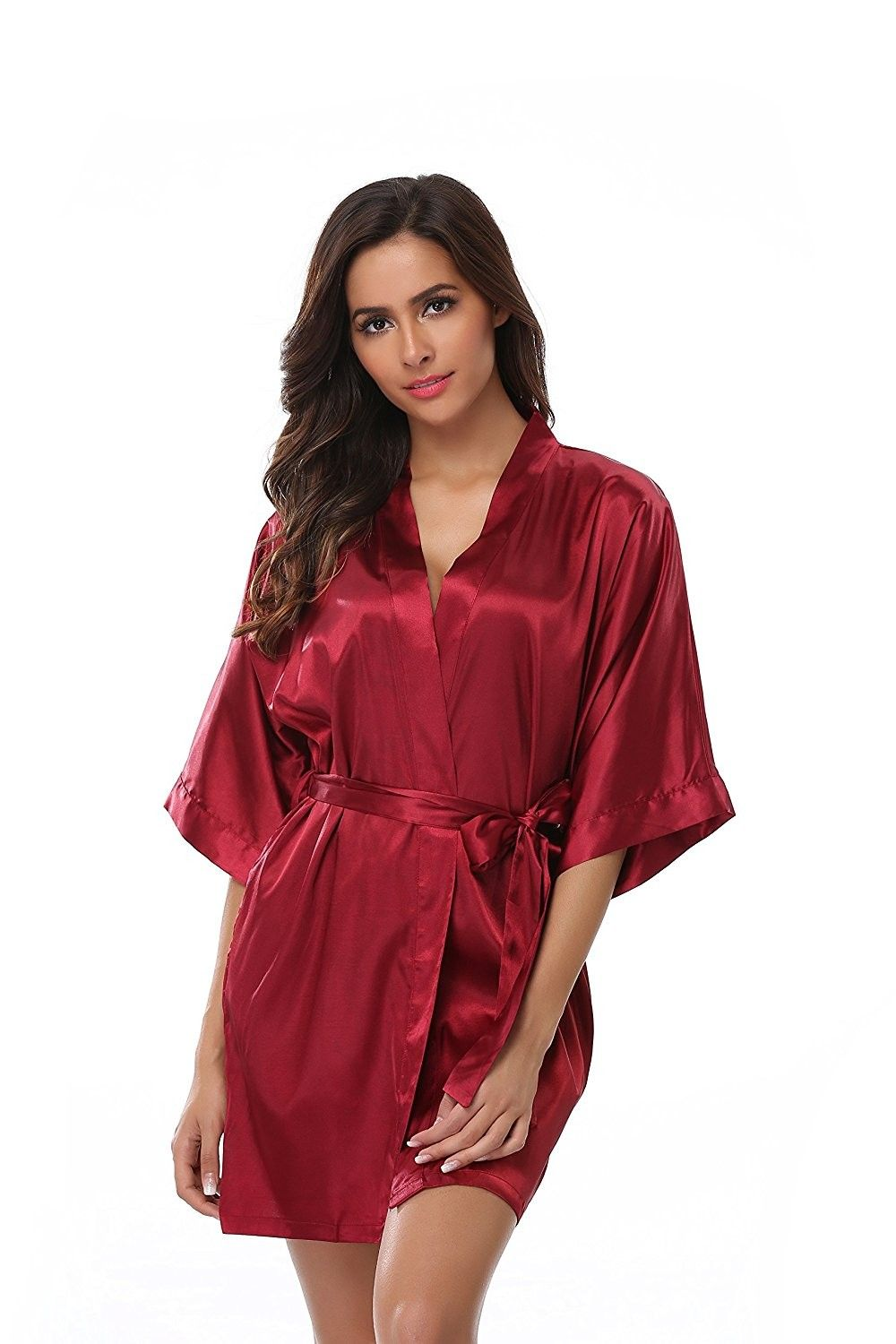 6a0a5510f402 VogueBridal Women s Solid Color Short Kimono Robe - Wine Red ...