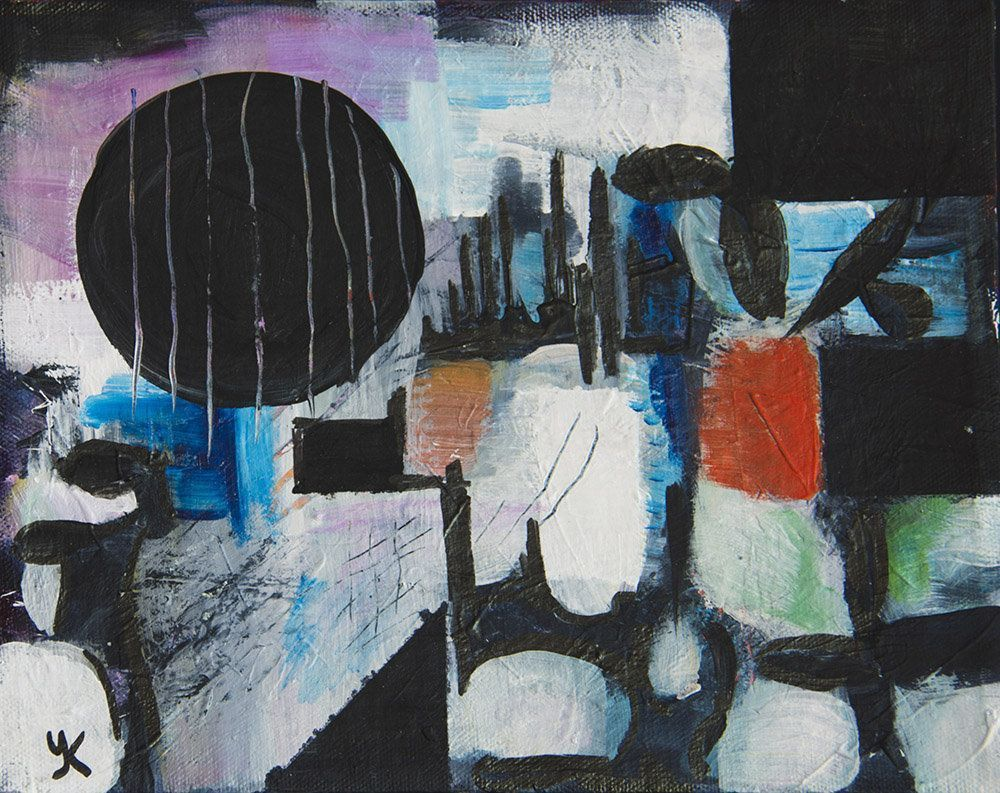 Cold spring in city original acrylic painting abstract painting blue