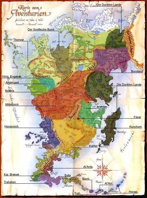 das schwarze auge karte Politische Karte von Aventurien | Das Schwarze Auge | Pinterest