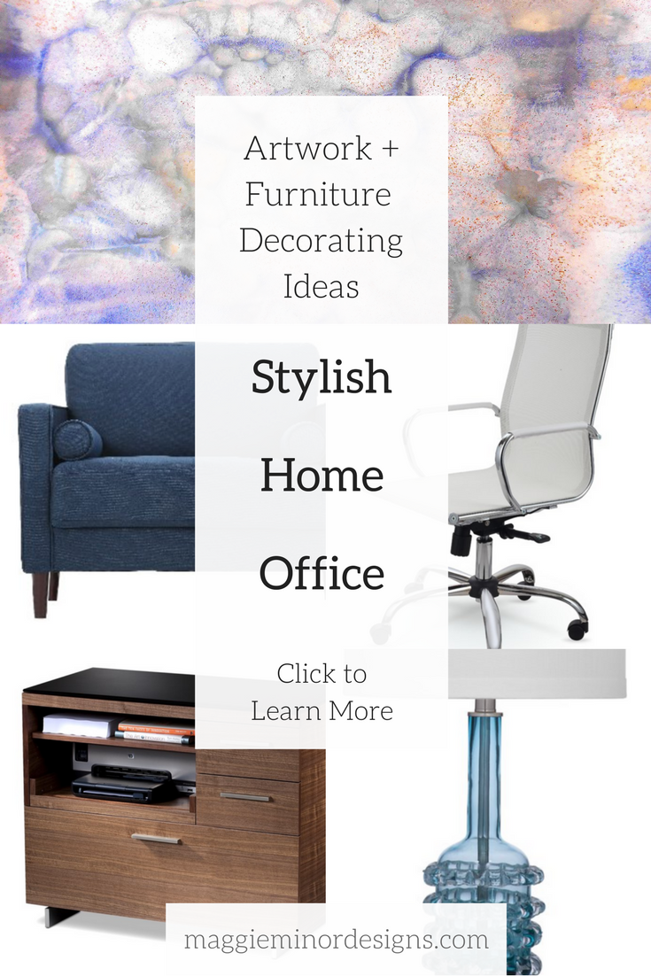 How to create a stylish contemporary home office ladyboss girlboss modern feminine home office decor ideas residential interior design ideas blue