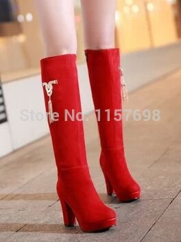 (66.99$)  Watch here  - Small yards 32 33 boots winter thick heel plus size 41 40 - 43 zipper high-leg boots  high-heeled  red wedding shoes boots