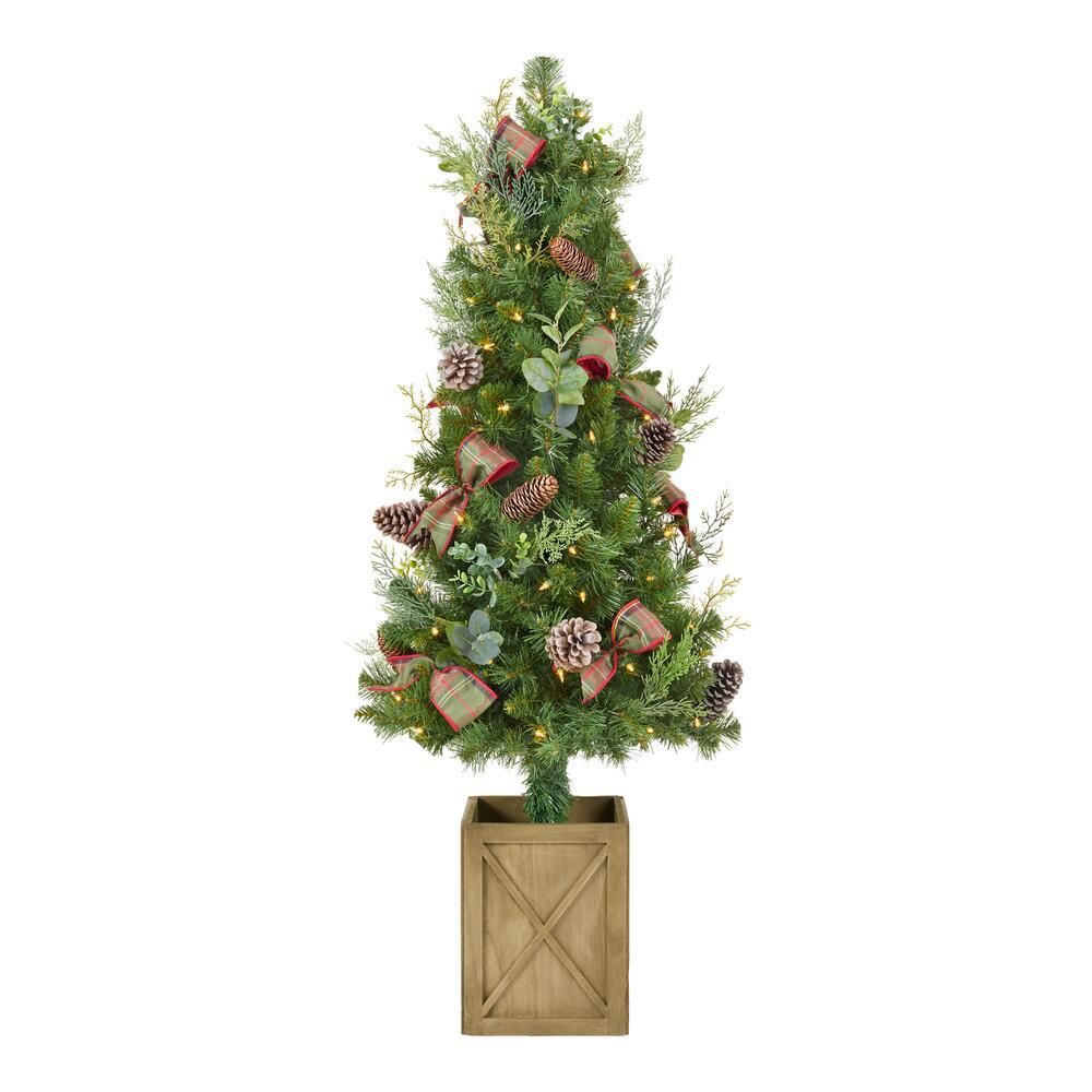 Home Accents Holiday 4 5 Ft Woodmoore Mixed Pine Potted Pre Lit Artificial Christmas Tree Chzh3812070h4 The Home Depot In 2020 Christmas Tree Clear Lights Artificial Christmas Tree Christmas Tree In Urn