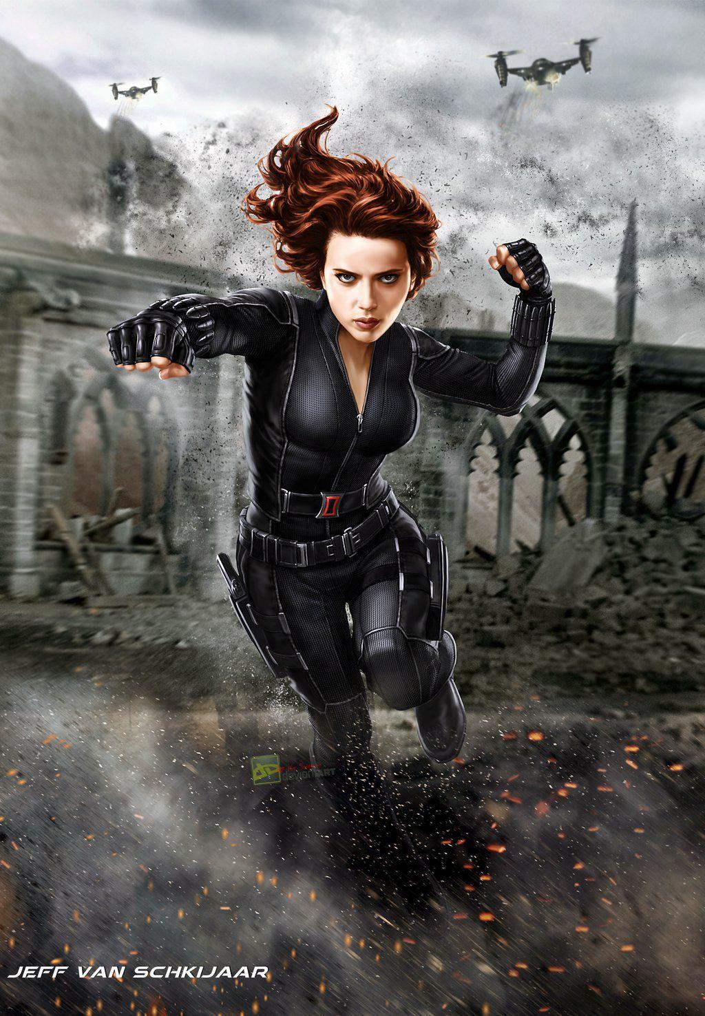 Scarlett Johansson Black Widow Fanart Poster by jeffery10 ...