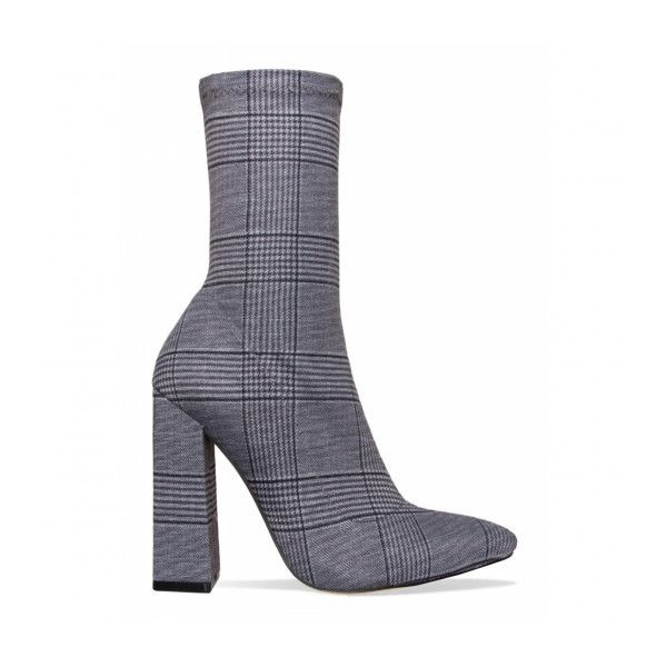 2893ca674df Gwen Grey Check Block Heel Ankle Boots : Simmi Shoes ❤ liked on ...