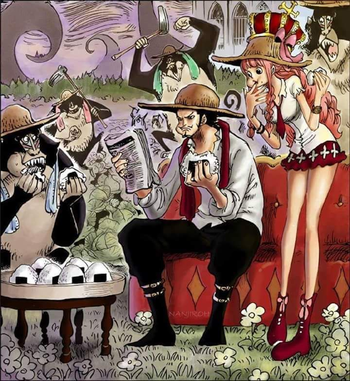 7b9bcb023bc Dracule Mihawk and Perona read the news of the Straw Hats  new bounties.  The Humandrills are shown to have farming skills.