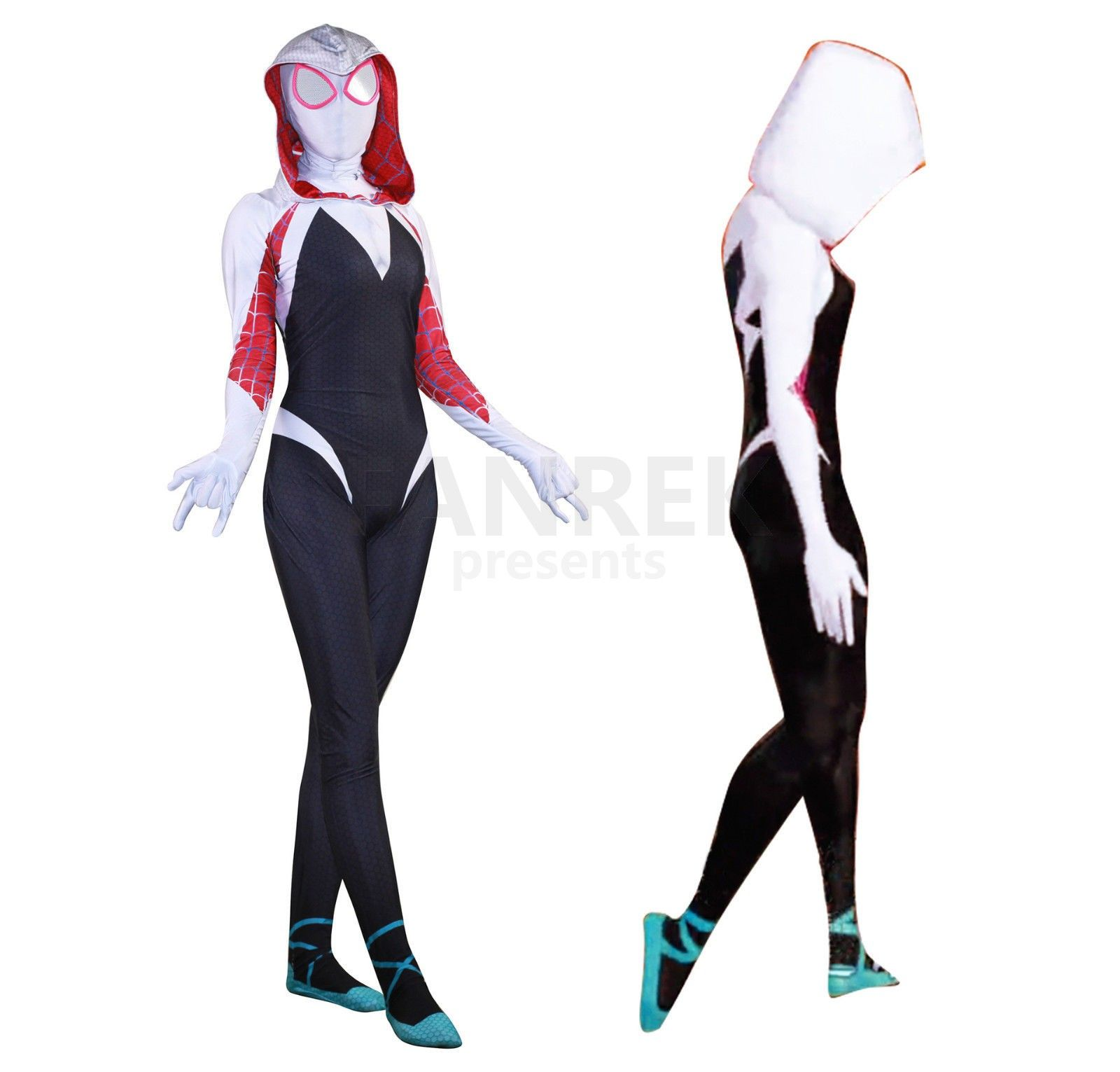 Spider Gwen Stacy Costume Women Girls Spiderman Cosplay Jumpsuit Hoodie