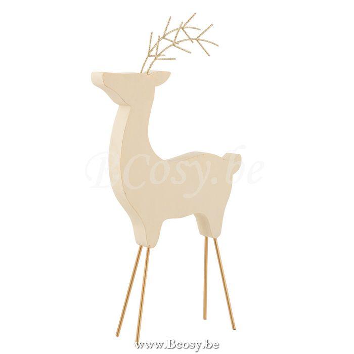 J Line Rendier Kerst Deco Hout Beige Glitter Goud Large 34 Jline By Jolipa 8422 Rendieren Elanden Rennes Caribous Reindeers Rentiere Rendier Rennes Decoratie