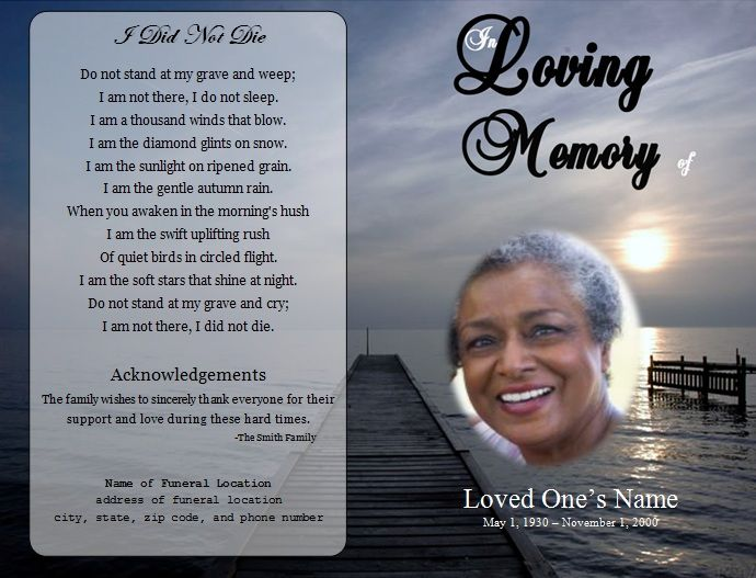Dock Single Fold Memorial Program | Program Template, Microsoft Word And  Funeral