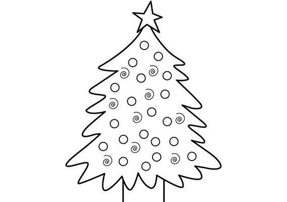 kleurplaat kerstboom met ballen en ster kleurplaten