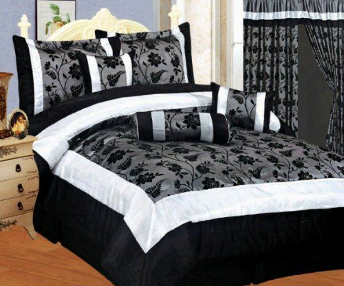 7 PC FLORAL SET BLACK WHITE GREY FLOCK SATIN COMFORTER SET