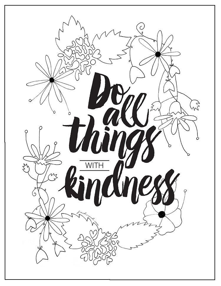 With Kindness Coloring Page Free Adult Coloring Book Pages Free