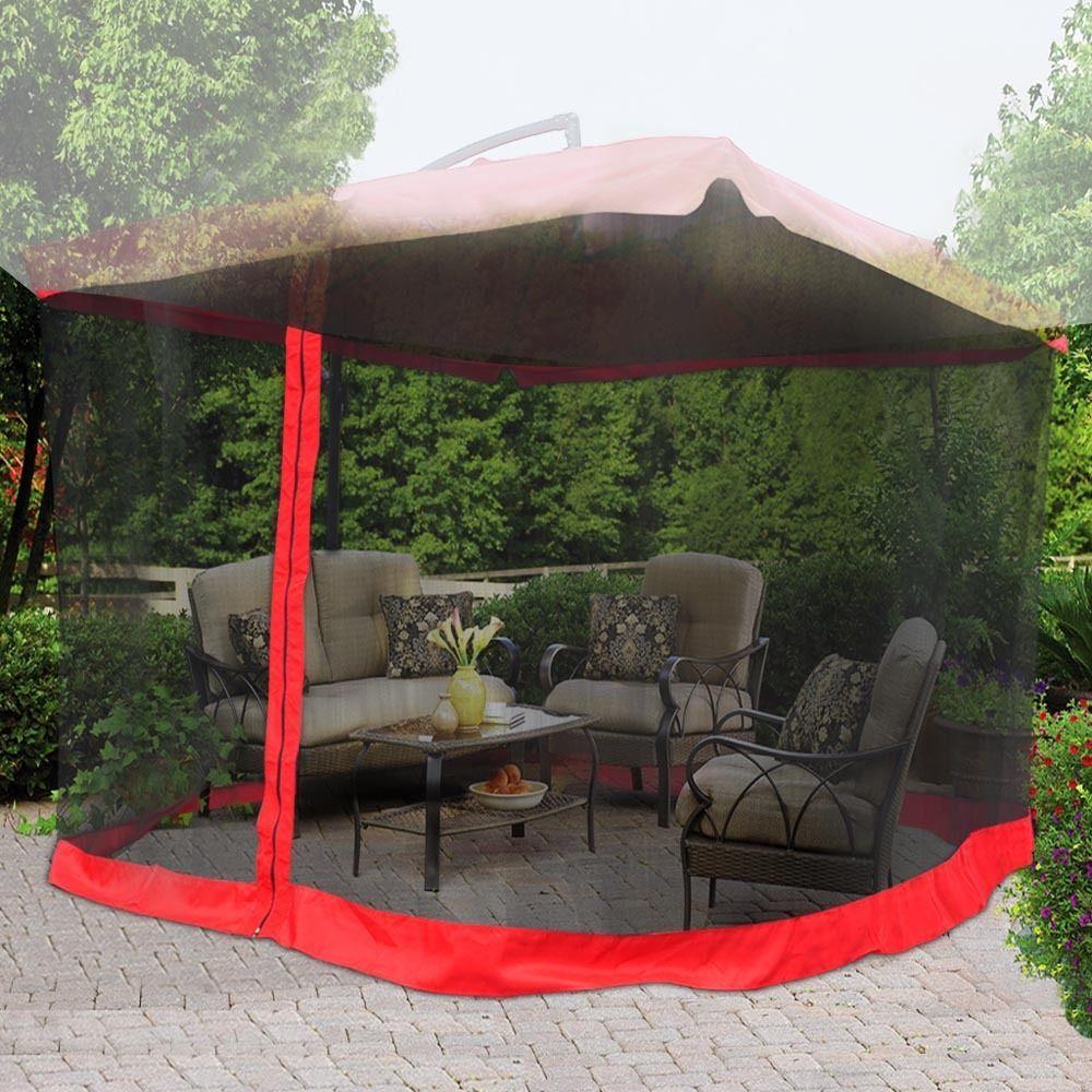 9u0027 x 9u0027 Offset Umbrella Mosquito Net Outdoor Patio Red Table Screen Netting Mesh & 9u0027 x 9u0027 Offset Umbrella Mosquito Net Outdoor Patio Red Table ...