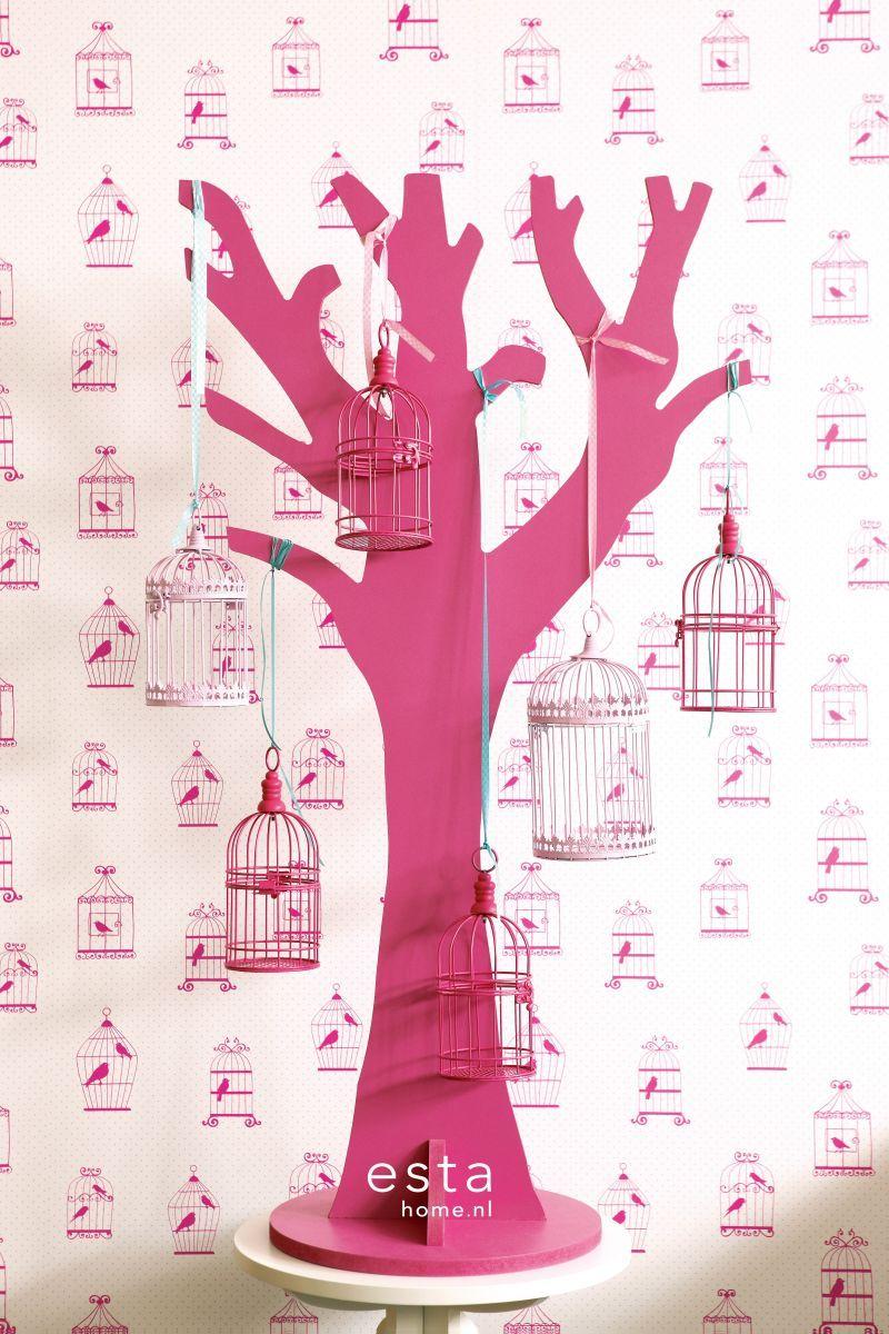 Esta tapetti Birdcage, valeanpunainen, valkoinen ja pinkki muodostavat raikkaan kokonaisuuden - Esta Birdcage-wallpaper with pink and white makes a fresh combination