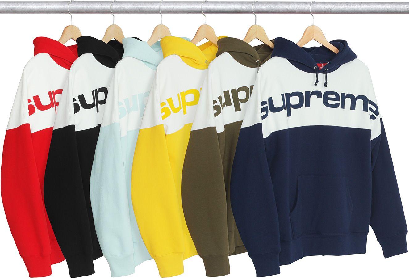 Supreme Blocked Hooded Sweatshirt Hooded Sweatshirts Supreme Clothing Mens Sweatshirts [ 900 x 1325 Pixel ]