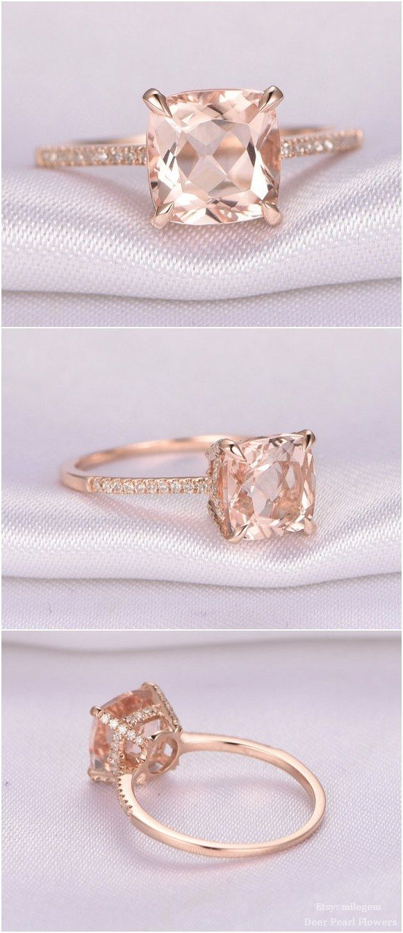 8mm Cushion cut Pink Morganite Engagement Ring / http://www.deerpearlflowers.com/rose-gold-engagement-rings-from-milegem/2/