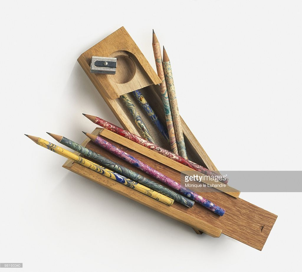 stock photo old fashioned wood pencil case pencils and pencil