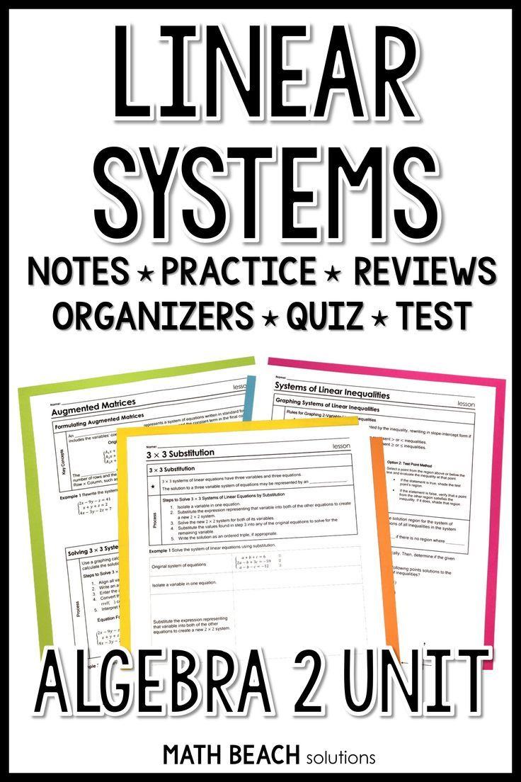 Unit 3 + Activities Linear Systems Texas Algebra 2