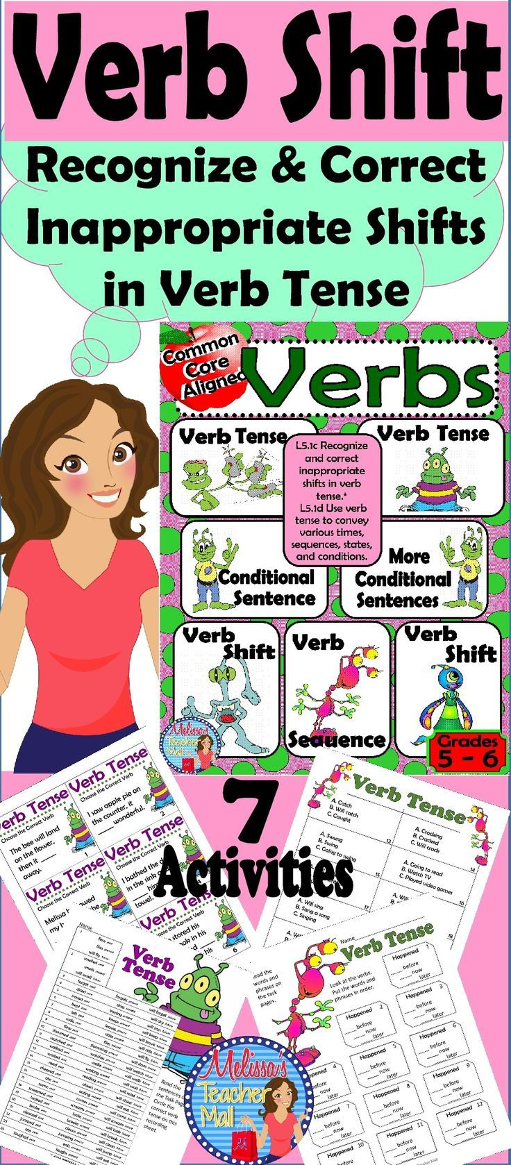 Verb Tense And Verb Tense Shift Bundle With Images Verb Tenses Activities Verb Tenses Teacher Helper